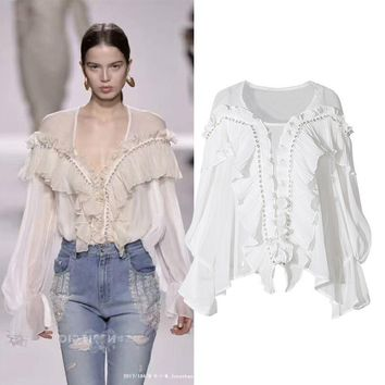 Ruffles brand runway white long sleeve womens tops and blouses new 2018 spring summer fashion chiffon shirt blouse