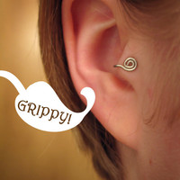 The Ronin Collection 'B curl' Tragus Cuff GRIPPY silver spiral ear cuff wire loop swirl curly earring alternative