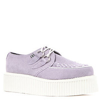 T.U.K. The Sole Mondo Creeper in Lavender and White Suede Interlace