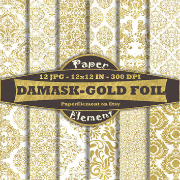 White and Gold Damask Digital Paper Pack - Metallic Gold Foil Digital Paper for Weddings, Anniversaries, Formal Events - Instant Download