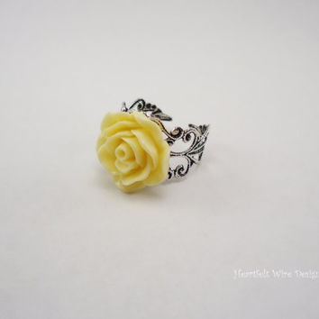 Yellow Rose Ring, Vintage Inspired Band