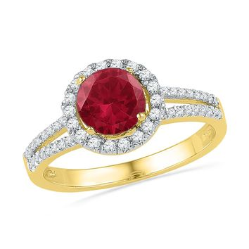 10kt Yellow Gold Womens Round Lab-Created Ruby Solitaire Diamond Halo Ring 1-5/8 Cttw
