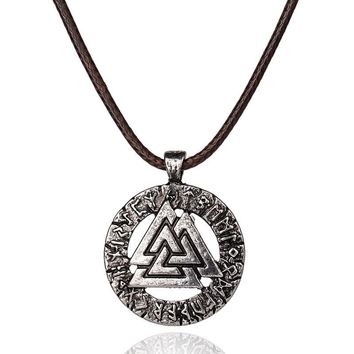 1Pcs Pagan Amulet Pendant Odin 's Symbol Of Norse Viking Warrior Men Necklace Slavic Norway Valknut Scandinavian Viking Jewelry