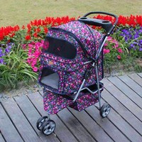 New 3 Wheels Fashion Flowers Dog Stroller w/RainCover