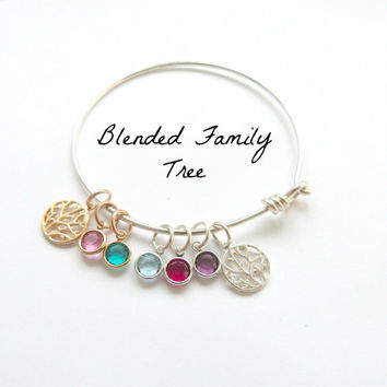 Personalized Bracelet Blended Family Tree Bangle Birthstone Jewelry Mom Jewelry New mom Gift Grandmother gift child birthstone