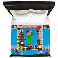 ugly christmas pickle King Duvet