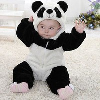 New Cute Animal Panda One Piece Long Sleeve Cotton Newborn Baby Hooded Romper Baby Costume Clothing Clothes
