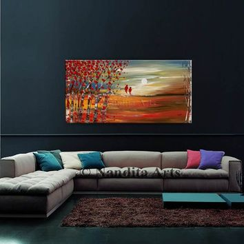 "Abstract Painting LANDSCAPE PAINTING, Oil Paintings on Canvas 48"" Sunsets Textured Wall Art, Red Bird Modern Art Landscape Art - Nandita"