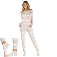 Women's Cuddl Duds Pajamas: Under The Moonlight Top, Pants & Socks 3-Piece PJ Set | null