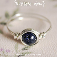 Galaxy Ring, Sterling Silver, wire wrapped ring, wire wrapped jewelry handmade, unique rings, blue goldstone ring