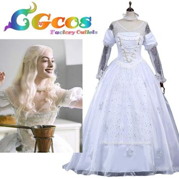 Cool Free Shipping COS Cosplay Costume Alice in Wonderland  Alice Through the Looking Glass White Queen Halloween Christmas UniformAT_93_12