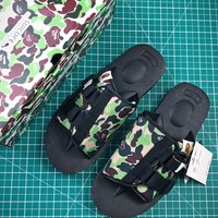 A Bathing Ape X Suicoke Kaw Vs Bape Camo Green Black Sandals Sale