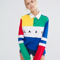 Lazy Oaf Oversized Rugby Shirt With Colour Blocks at asos.com