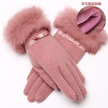 2015 new female Korean artificial wool drive warm gloves ladies winter plus velvet padded double cashmere mittens free shipping