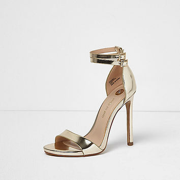 5b686efab46 Gold strappy barely there heels from River Island Clothing