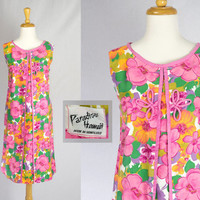 Vintage 60's Mod Pink Paradise Hawaiian Dress Pretty Frog Closures Island Valentine!