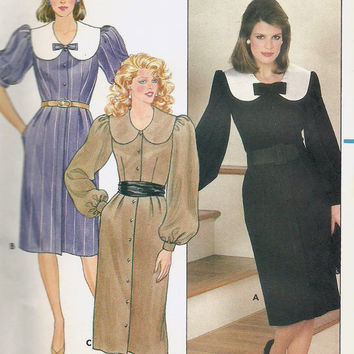 Butterick 6129 Sewing Pattern 80s Retro Business Casual Cocktail Party Dress Puff Sleeves Wide Collar Button Front Uncut FF Bust 34 to 38