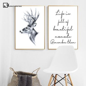 Nordic Decoration Deer Inspirational Poster Life Quote Canvas Print Minimalist Wall Art Painting Decorative Picture Home Decor