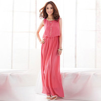 Chiffon Women's Fashion Beach Summer Sleeveless One Piece Dress =