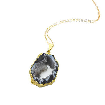 Geode Necklace // Black Agate Necklace