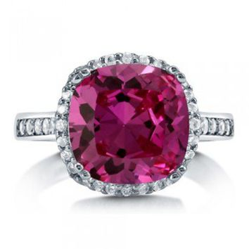 Cushion Pink Cubic Zirconia Sterling Silver Halo Cocktail Ring 4.91 Ct #r747-PK