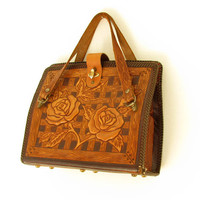 Vintage Tooled Mexican Leather Handbag