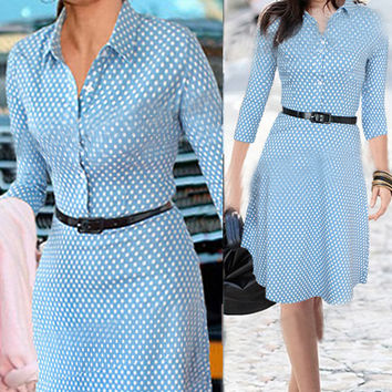 Blue Polka Dot Casual Midi Dress