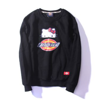 Womens Black Dickies Hello Kitty Printed Pullovers Sweater