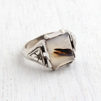 Vintage Sterling Silver Ring - Art Deco 1930s Size 5 Agate Semi Precious Stone Jewelry / Flower Sides