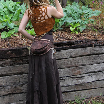 Crochet Cotton Hand Dyed Golden Rust Pixie Mandala Lace Up Vest