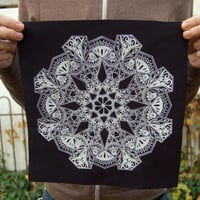 Floral Mandala Back Patch in Black