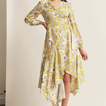 Floral Surplice Wrap Handkerchief Dress