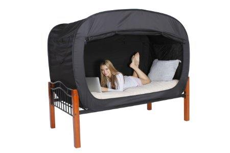 privacy pop bed tent queen black from amazon home. Black Bedroom Furniture Sets. Home Design Ideas