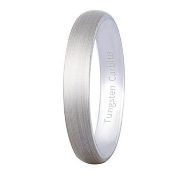 4mm Silver Tungsten Carbide Ring Cool Wedding Engagement Band Matte Finish Domed (Platinum)