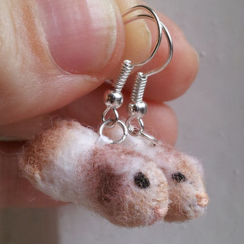 Guinea Pig Earrings - miniature felt pet jewellery guinea pig jewelry guinea pig gifts miniature guinea pig felted guinea pig dangle silver