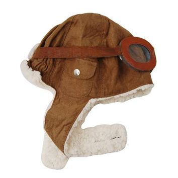 Stretchy Baby Kids Pilot Aviator Helmet Hat Beanie Warm Cashmere Lined (Brown)