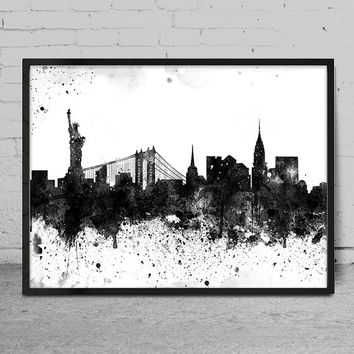 New York art, New York skyline, Painting, New York wall art, abstract art, New York Poster, Home Decor -x92