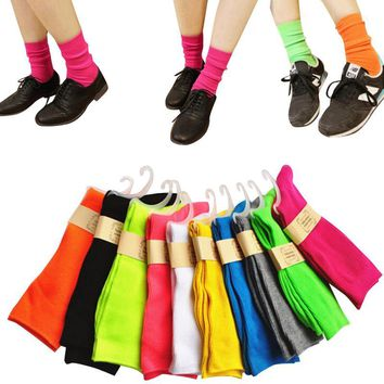 Women Fashion Candy Colors Long Cotton Socks For Female Autumn Winter Fluorescence Solid Color In Tube Socks 5pairs/lot