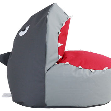 Shark Bean Bag Chair, Dark Gray, Bean Bags