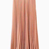 Pink Pleated Maxi Skirt With Belt - Choies.com