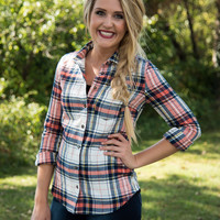Country Living Plaid Flannel Top - Orange/Navy
