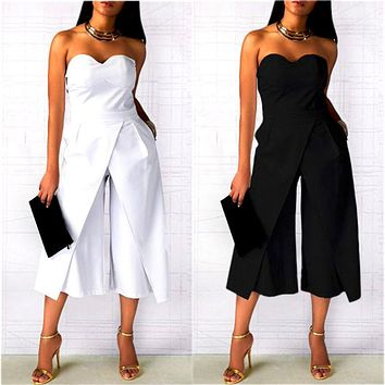 Fashion Backless Strapless Solid Color Sleeveless Irregular Romper Jumpsuit