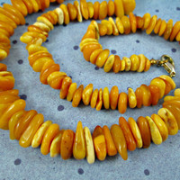 Vintage Natural Baltic Amber Bead Necklace Egg Yolk Butter Butterscotch Honey Antique Amber Beads Graduated Size 21 Inch Long 34 Grams Nice!