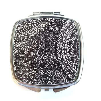Black and White Detailed Aztec Swirls Compact Mirror