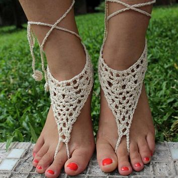 Handmade Hollow Out Crochet Barefoot Sandals ,Nude shoes, Foot jewelry, Wedding, Victo