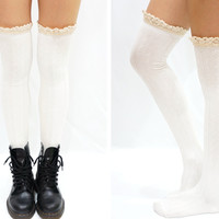 Comfy Lace Trim Knit Thigh High Boot Socks- White from Sandysshop