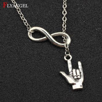 Fashion Lovers Jewelry Necklace Infinity Love You Gesture Pendant Silver Color For Women Men Couples Boyfriend Girlfriend Gift