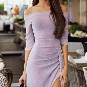 So Into You 3/4 Sleeve Off The Shoulder Draped Wrap Side Slit Bodycon Midi Dress - 4 Colors Available