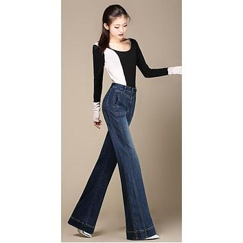 Free Shipping Women Wide Leg Jeans Ladys Fashion Full Length Big Straight trousers Boot Cut Flares  Pants Large Size 26-40