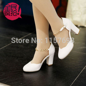 2014 spring and summer thick heel sandals female metal button women's shoes chain high-heeled shoes size